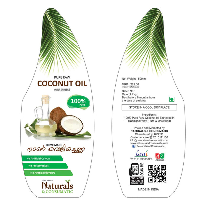 Natural Homemade Pure Raw Coconut Oil Unrefined