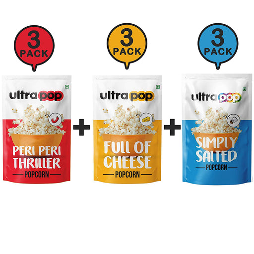 Ultrapop Flavored Ready to Eat Popped 3 Peri Peri, 3 Cheese and 3 Salted Popcorn - Pack of 9 (35 Gram Each)
