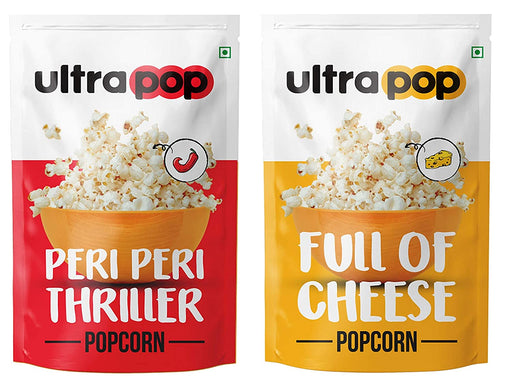 Ultrapop Flavored Ready to Eat Popped 4 Peri Peri and 4 Cheese Popcorn, 35 g Each - Pack of 8