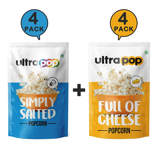Ultrapop Flavored Ready to Eat Popped 4 Salted and 4 Cheese Popcorn, 35 g Each - Pack of 8