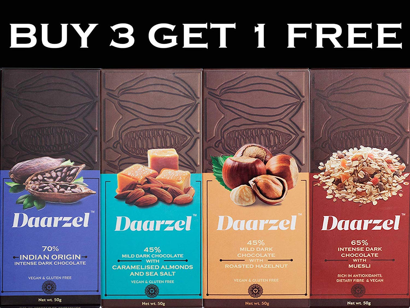 Daarzel - Dark Chocolate Box (Buy 3 Get 1 Free) Hazelnut, Caramelised Almond, Granola and Indian Origin