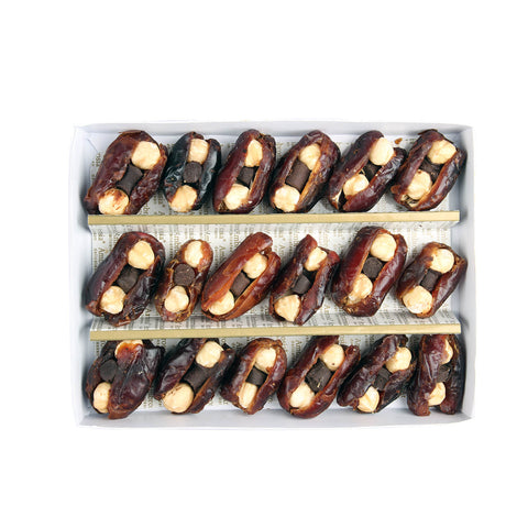 Dates with Hazel Nuts and Chocolate