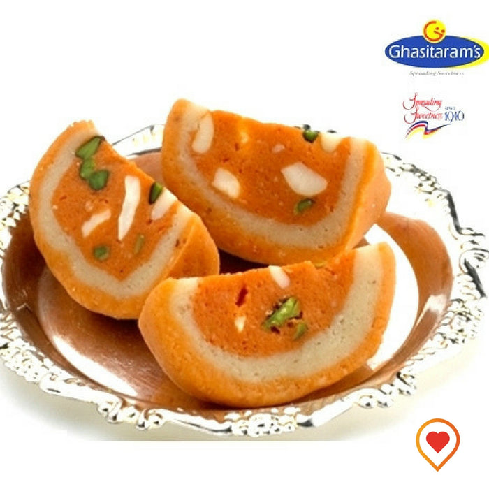Ghasitaram's special Dryfruit Orange Melba Mithai for specially designed for dryfruit lovers