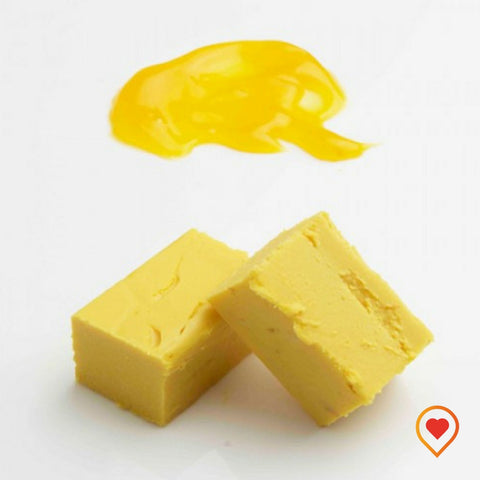 A soft creamy preparation made of sugar, butter ,white Chocolate and mango
