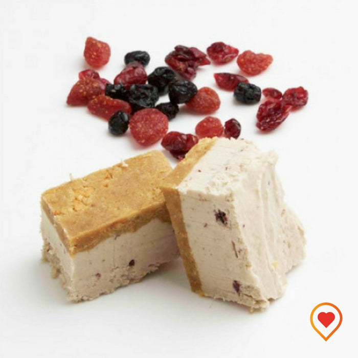A soft creamy preparation made of sugar, butter ,White Chocolate and Mixed Berry