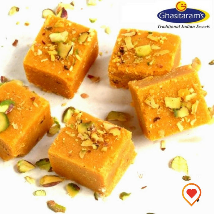 Traditional rajasthani dessert (Mohanthal) is like a gram flour fudge with a touch of cardamom flavor and topped with dryfruits, it can be served as a dessert or served with a cup of chai tea