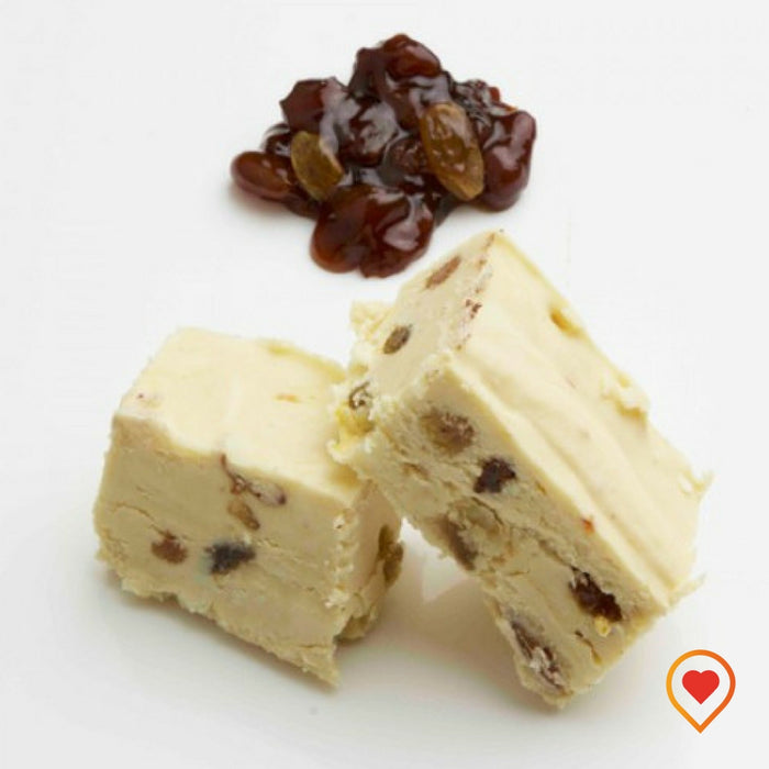 A soft creamy preparation made of sugar, butter ,White Chocolate and Rum& Raisins Concentrate