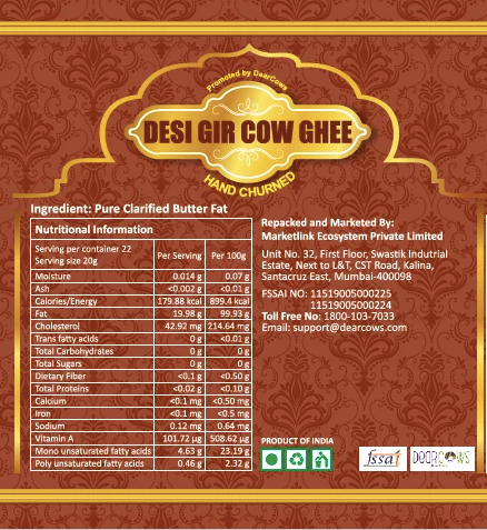 Combo: Ecosvasthya Desi Gir and Kankrej Cow A2 Ghee 500ml each