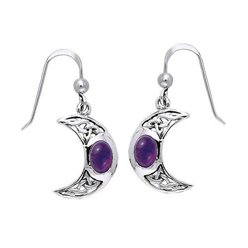 Silver Celtic Knotwork Crescent Moon Earrings