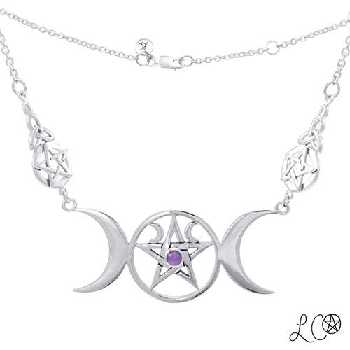 Laurie Cabot Triple Moon Pentacle Necklace