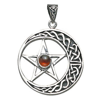 Silver Crescent Moon Pentacle Pendant