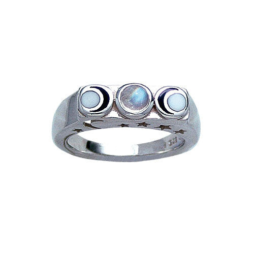 Silver Triple Moon Goddess Ring