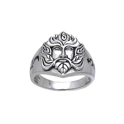 Silver Green Man Ring