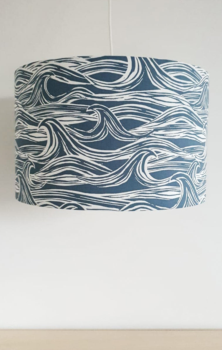Large Wave Print Lampshade