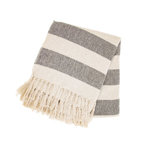 Large Cream and Black Striped Throw
