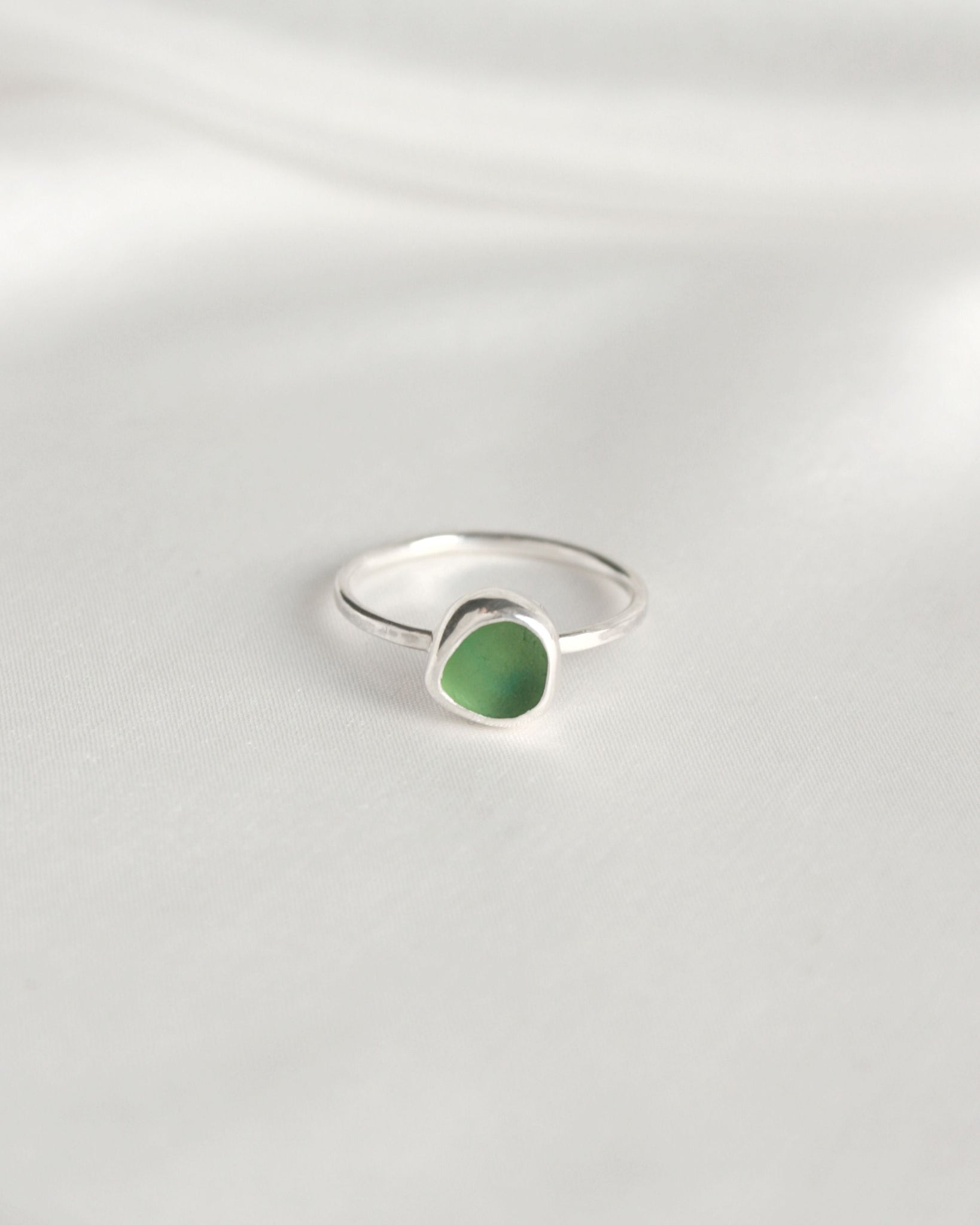 Green sea glass ring - Size J