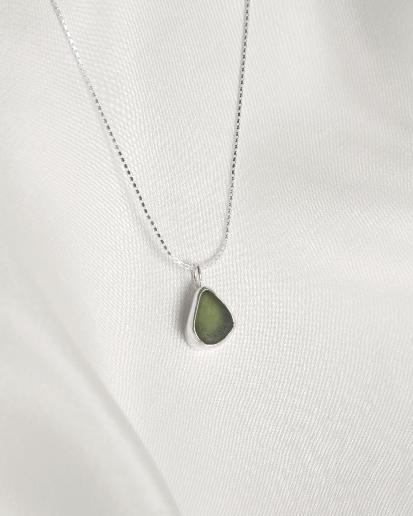 Green Teardrop Sea Glass Necklace