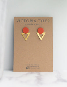 VT Rust and Brass Statement Earrings