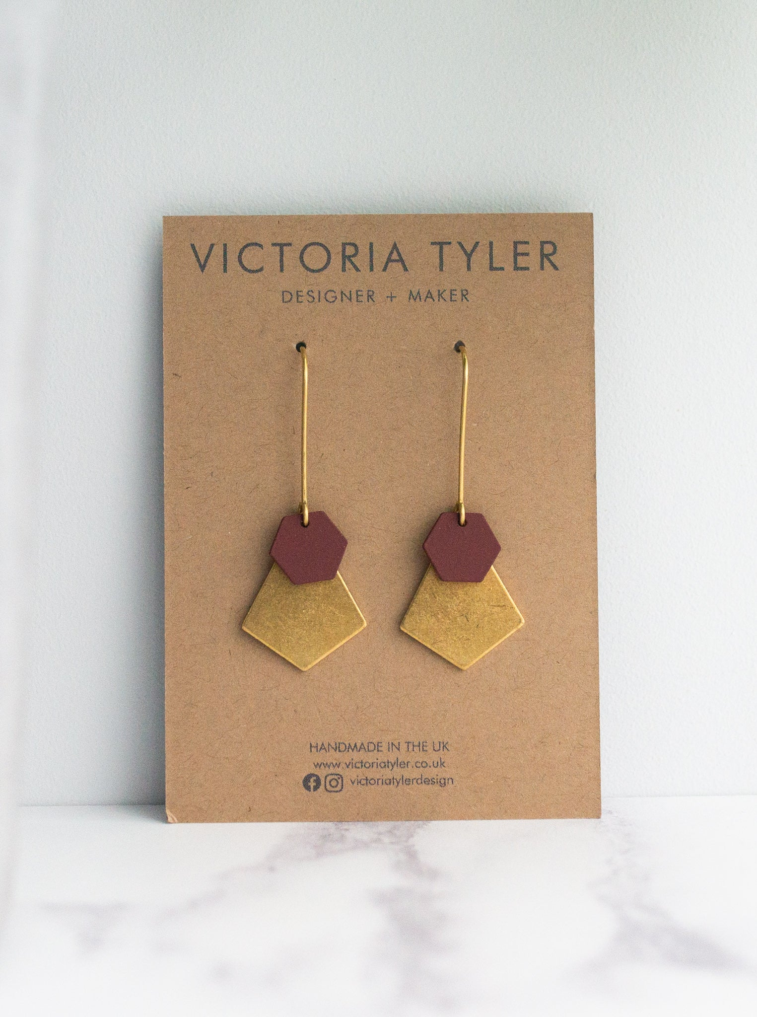 VT Burgundy and Brass Statement Earrings