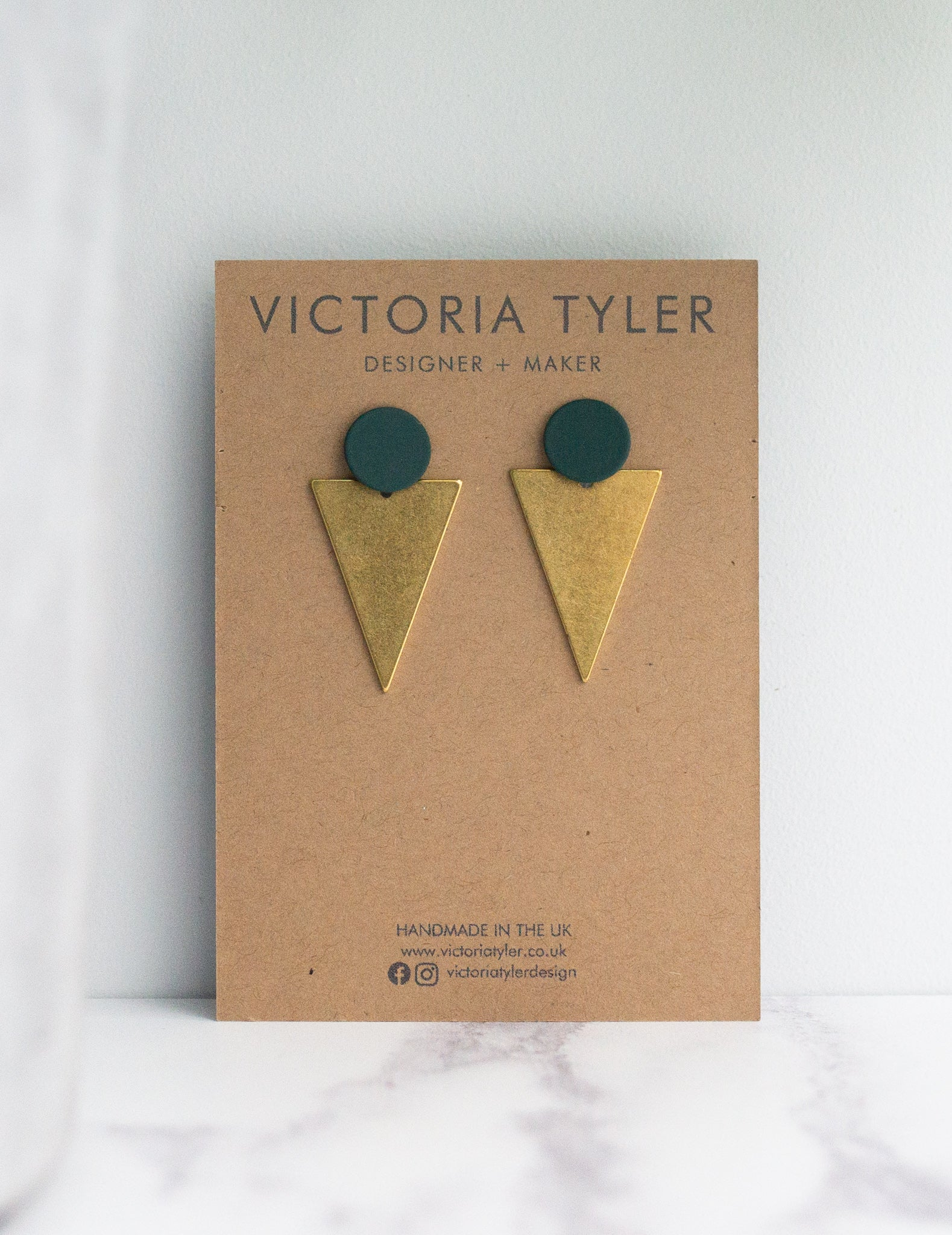 VT Petrol and Brass Statement Earrings