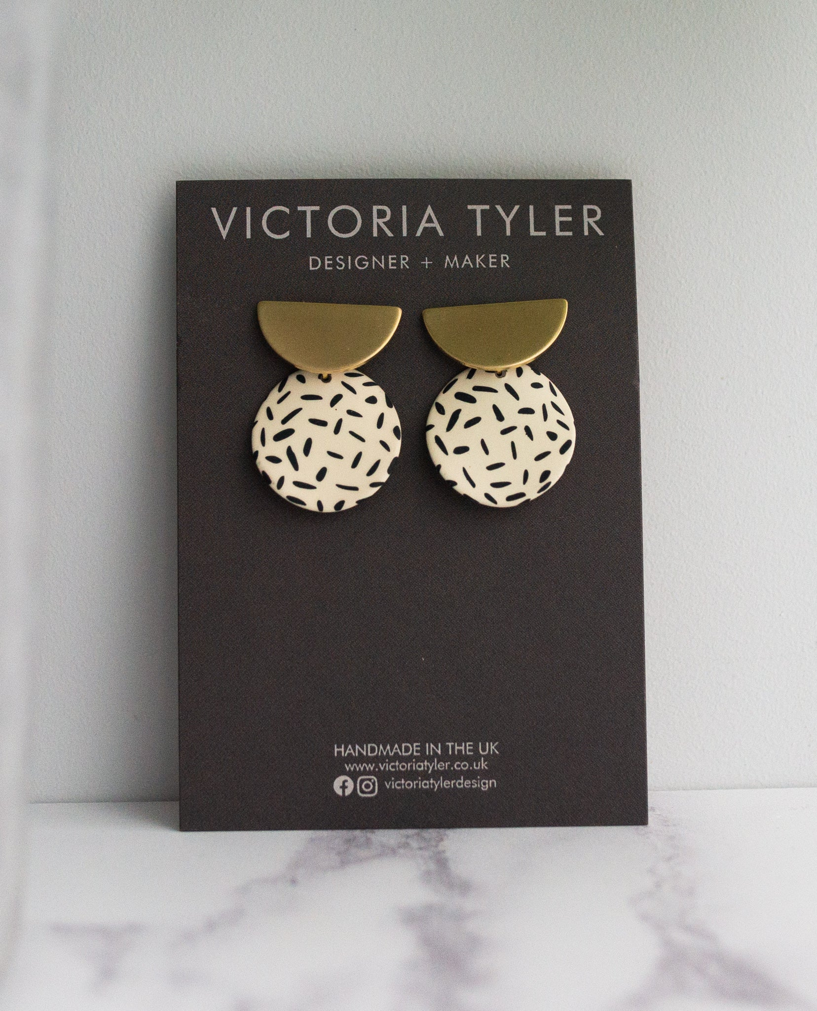 VT Half Moon and Round Statement Earrings