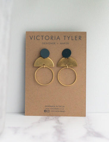 VT Multi Element Petrol and Brass Statement Earrings