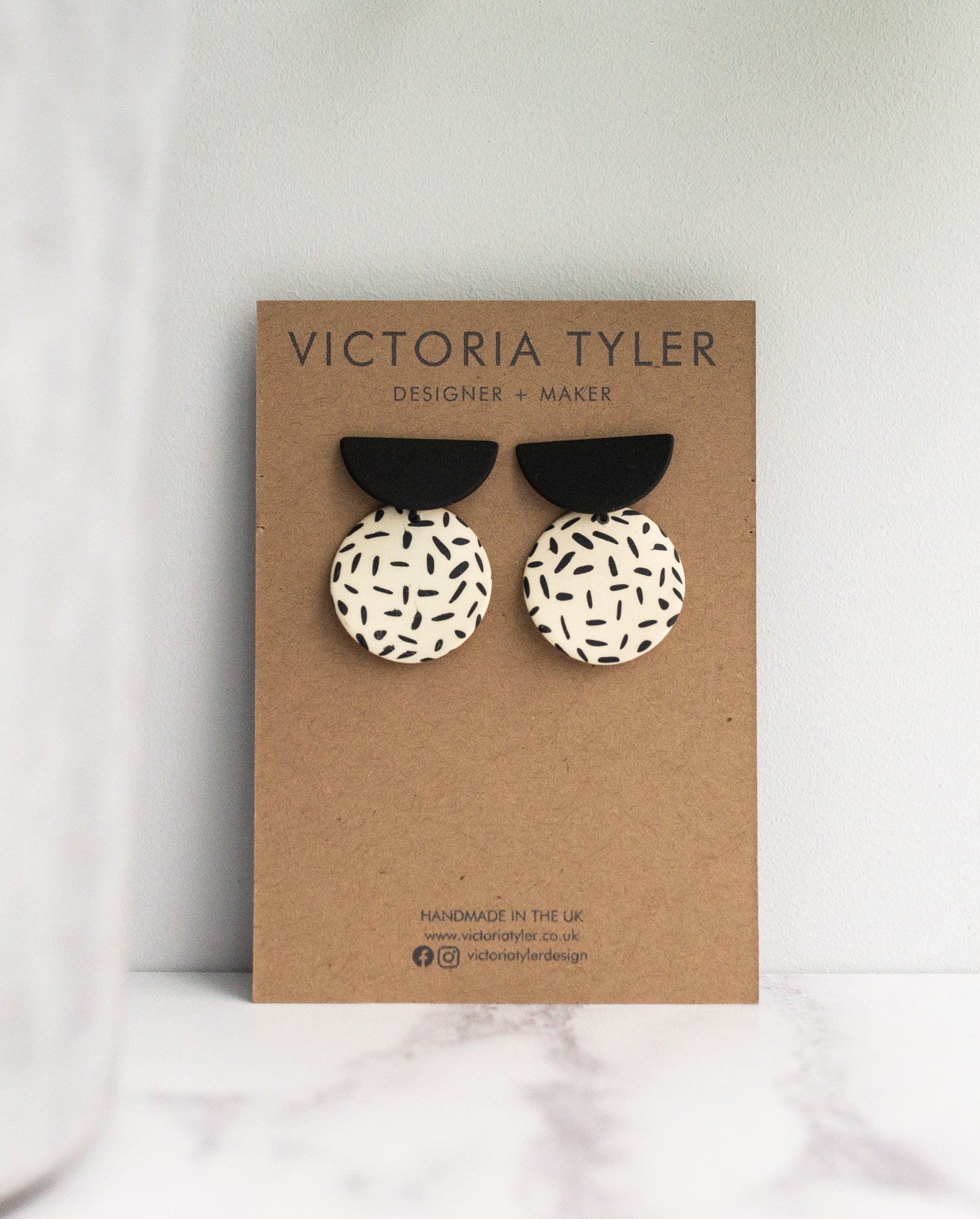 VT Black Half Moon and Round Statement Earrings
