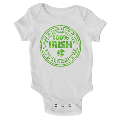 Baby Grows - 100% Irish - St Patricks Day Baby Grow