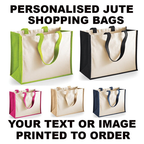 Bags - Personalised Printed Jute Canvas Shopping Bag
