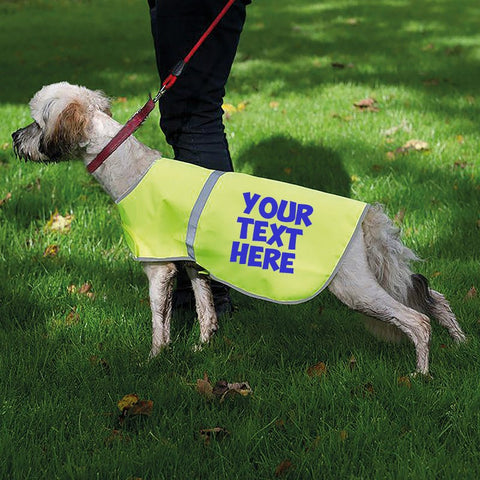 Dog Clothes - Personalised Printed Hi-Vis Dog Safety Reflective Vest