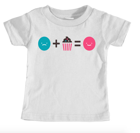 Kids Tees - Cupcake Happiness - Kids T-Shirt Ages 1/2 - 12/14 Years Old
