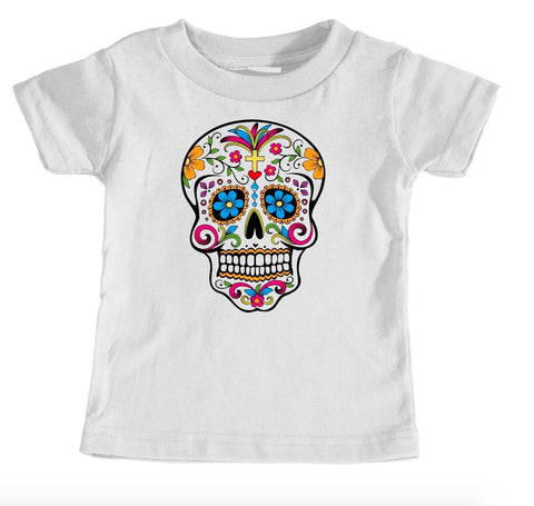 Kids Tees - Day Of The Dead Skull - Kids T-Shirt Ages 1/2 - 12/14 Years Old