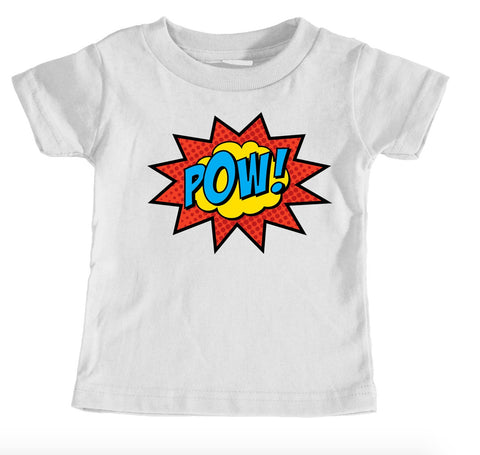 Kids Tees - POW! Red Logo Superhero - Kids T-Shirt Ages 1/2 - 12/14 Years Old