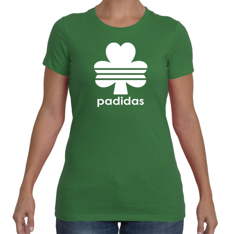 T-Shirts - Padidas White Logo - St Patricks Day Green Unisex Or Ladyfit T-Shirt