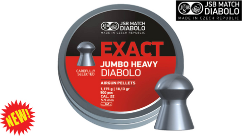 JSB Jumbo Exact Heavy .22 Pellets, Tin of 500