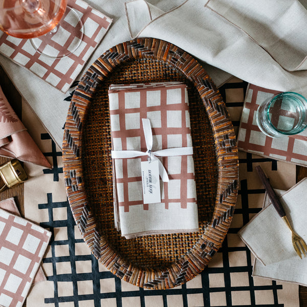 Grid Napkin / Placemat in Tobacco
