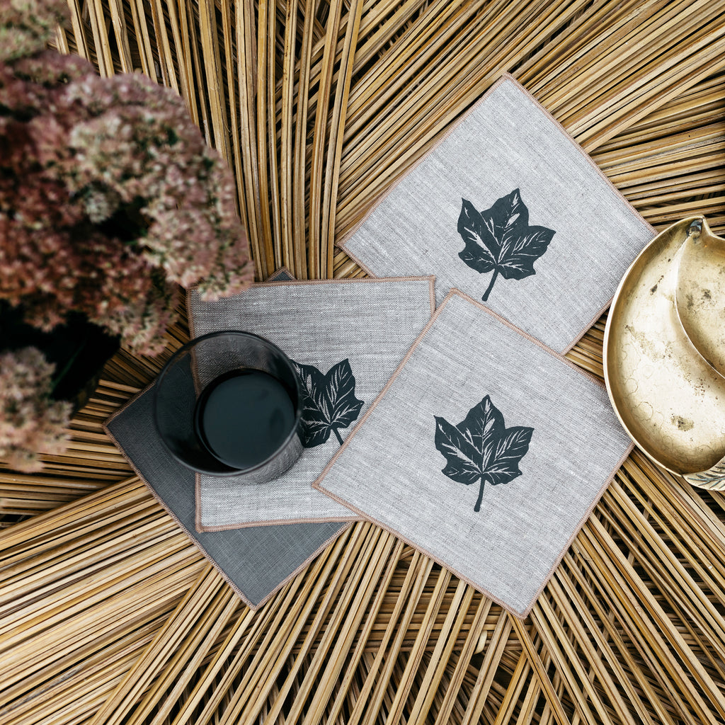 Maple Leaf Cocktail Napkins in Gray