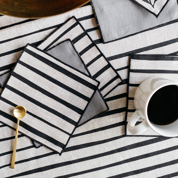 Striped Cocktail Napkins in Black
