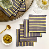 Striped Cocktail Napkins in Gold on Gray