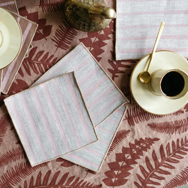 Striped Cocktail Napkins in Pink on Natural
