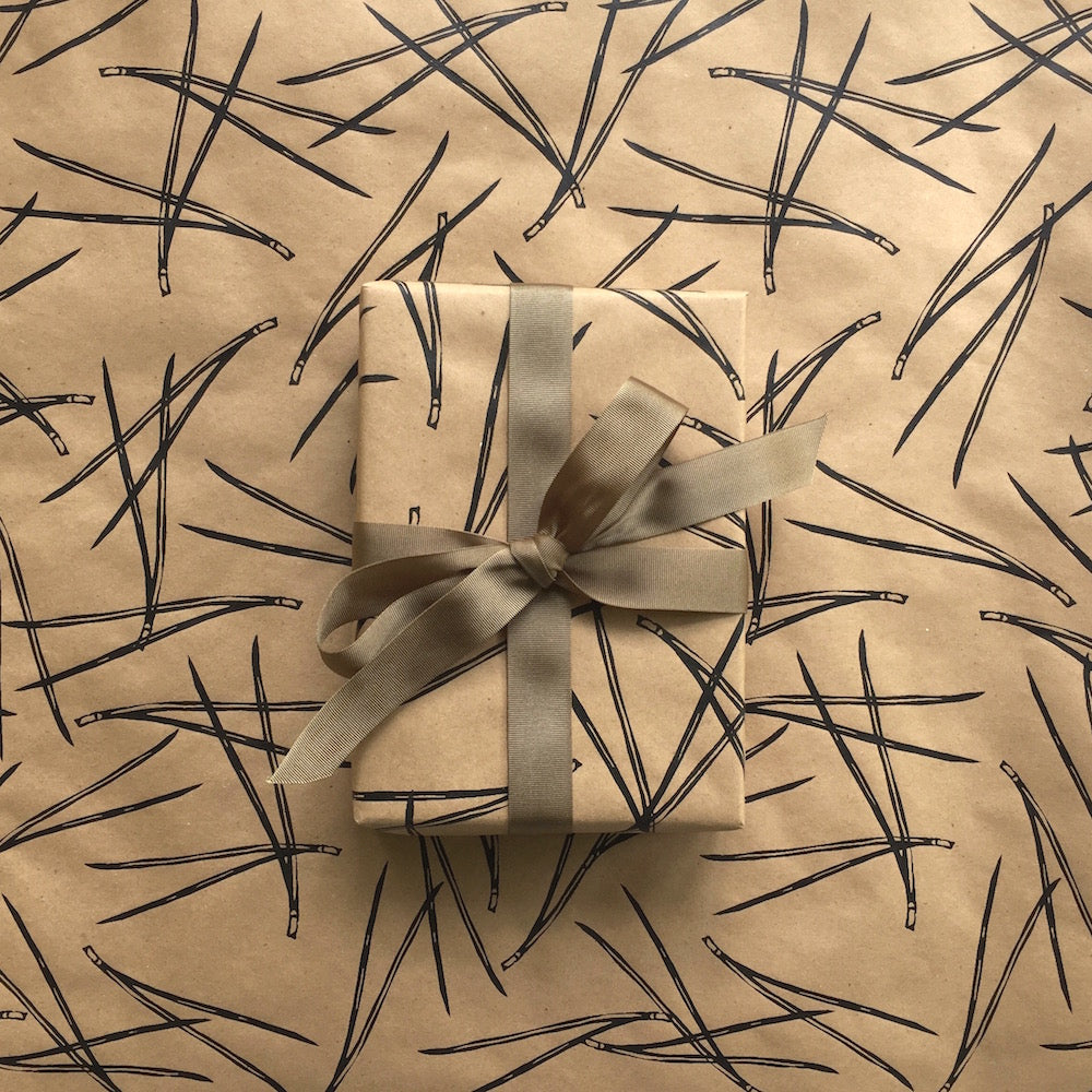 Pine Needles Wrapping Paper - Black