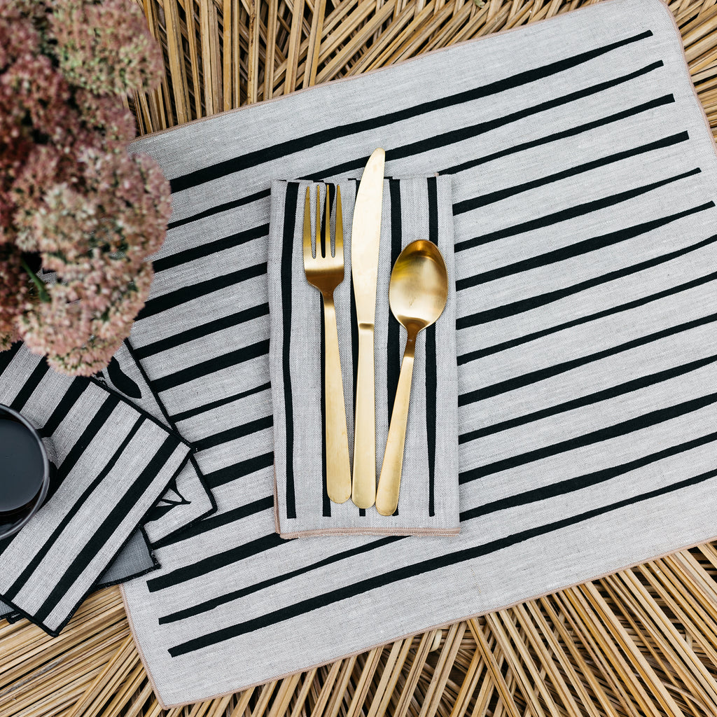 Striped Napkin / Placemat in Black