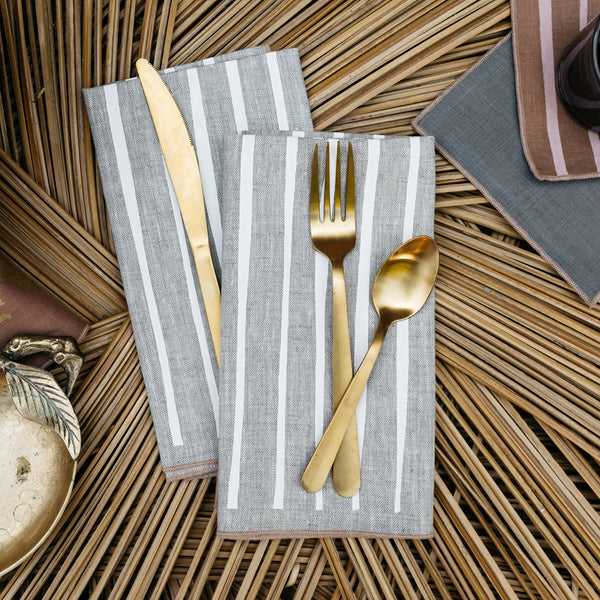 Striped Napkin / Placemat in White