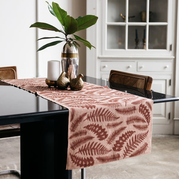 Fern Table Runner in Terra Cotta