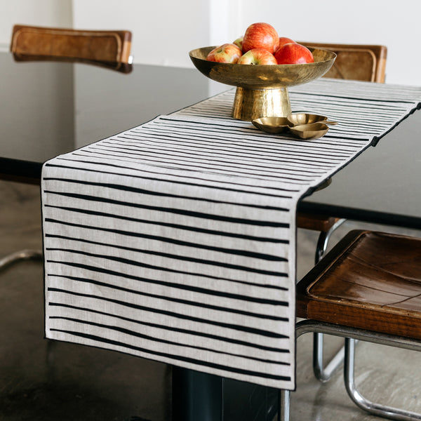 Striped Table Runner in Black