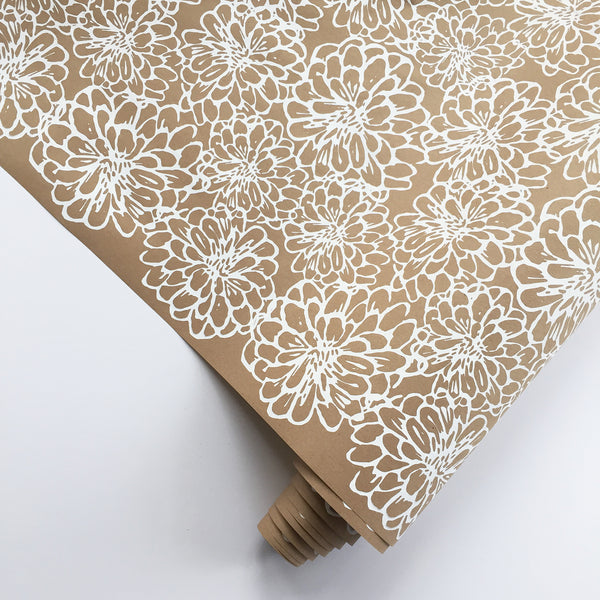 Zinnia Wrapping Paper - White