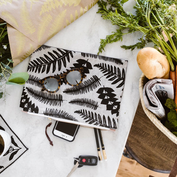 Fern Zipper Pouch - Black