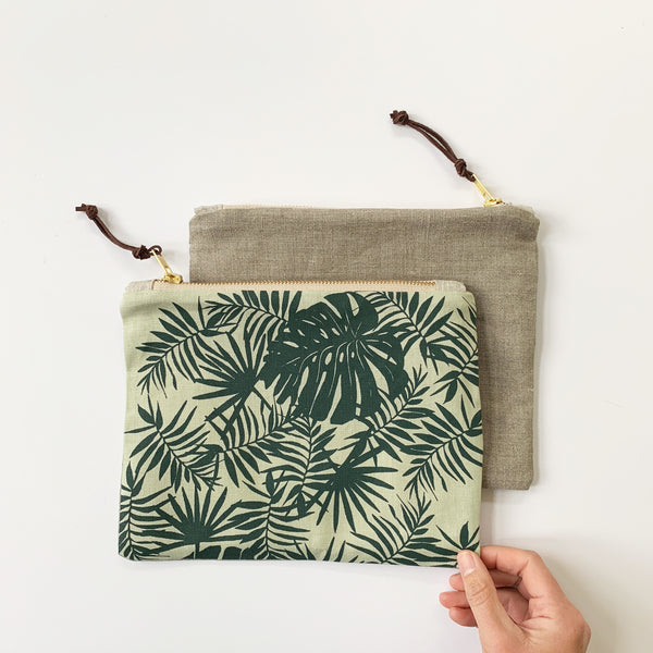 Tropical Zipper Pouch - Green