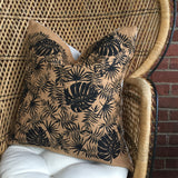 Tropical Linen Pillow - Black on Brown
