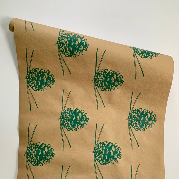 Pine Cone Wrapping Paper - Green